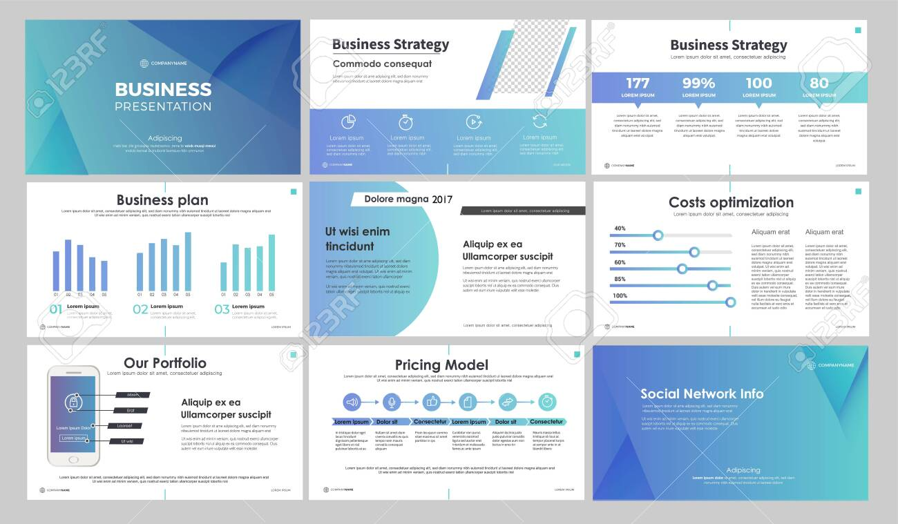 Blue presentation templates elements on a white background. Vector infographics. Use in Presentation, flyer and leaflet, corporate report, marketing, advertising, annual report, banner. - 142745519