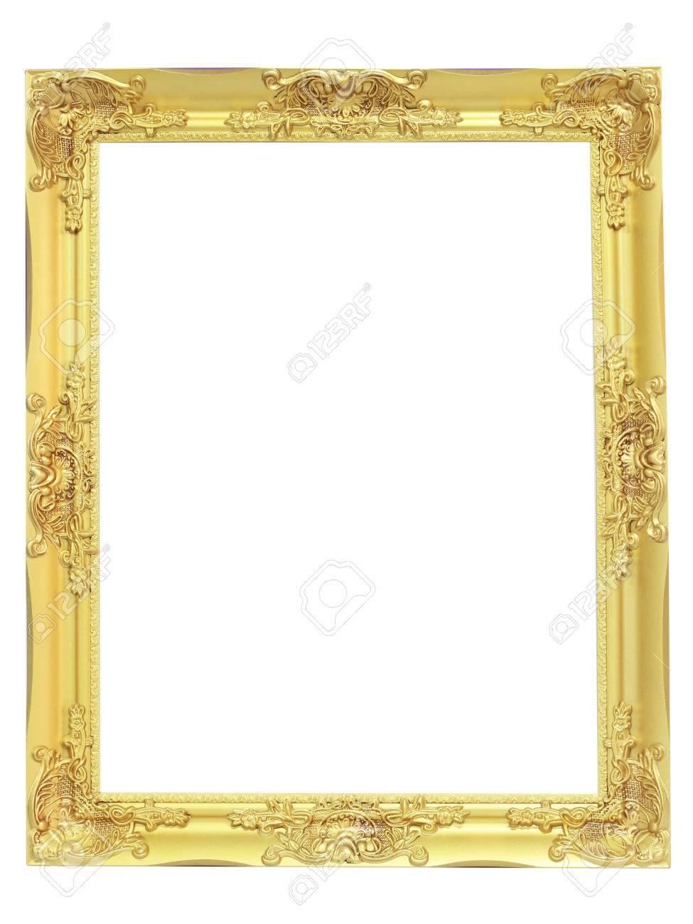 Goldenen Vintage-Rahmen Auf Weißem Hintergrund Lizenzfreie Fotos ...