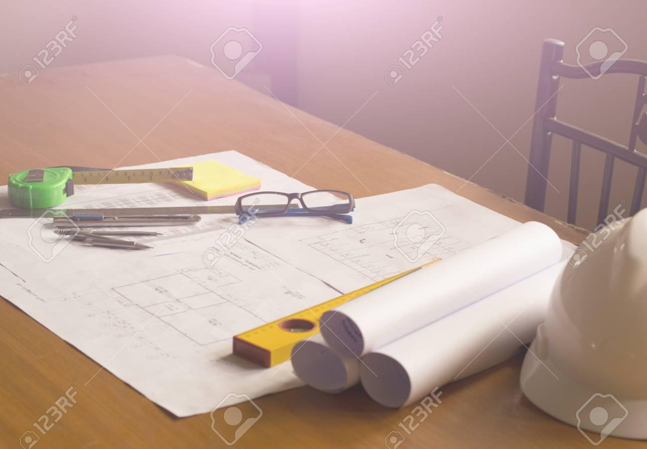 Architect desk Businessengineering concept architecture concept soft focus vintage tone & Architect Desk Businessengineering Concept Architecture Concept ...