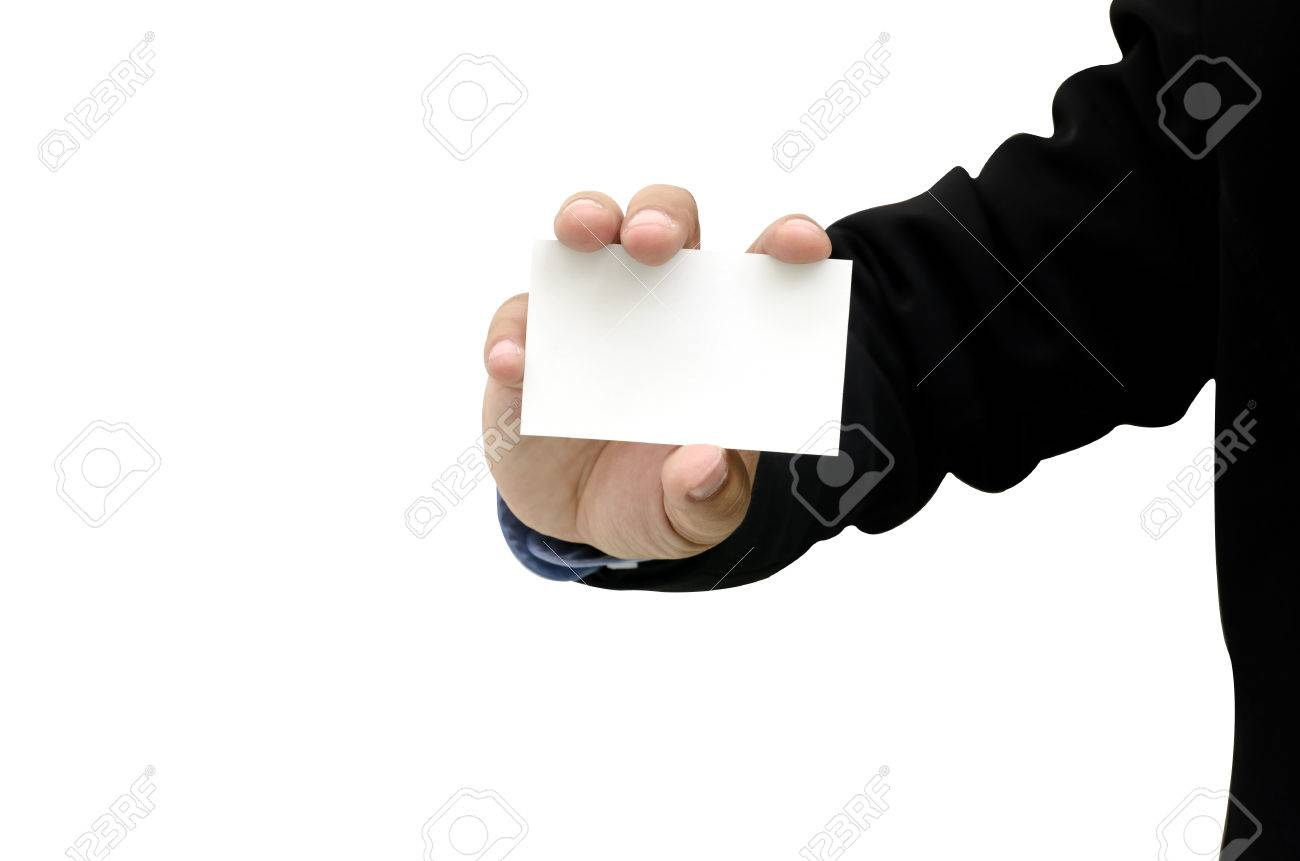 Close Up Business Man Holding Bank Business Cards Stock Photo ...