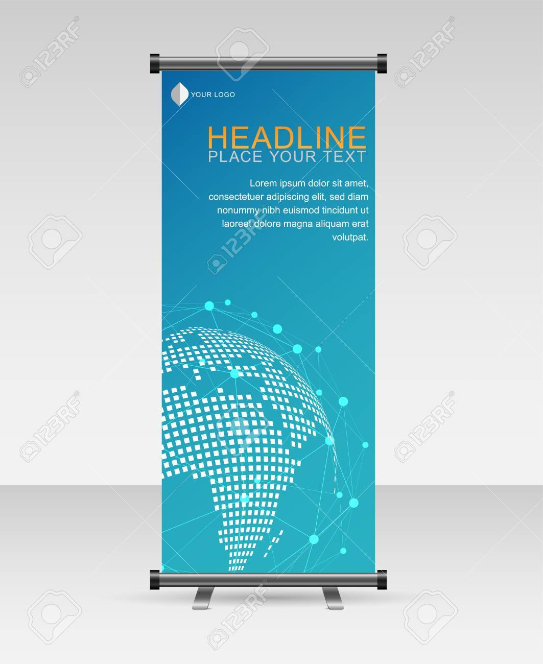 roll up banner stand isolated on transparent background vector