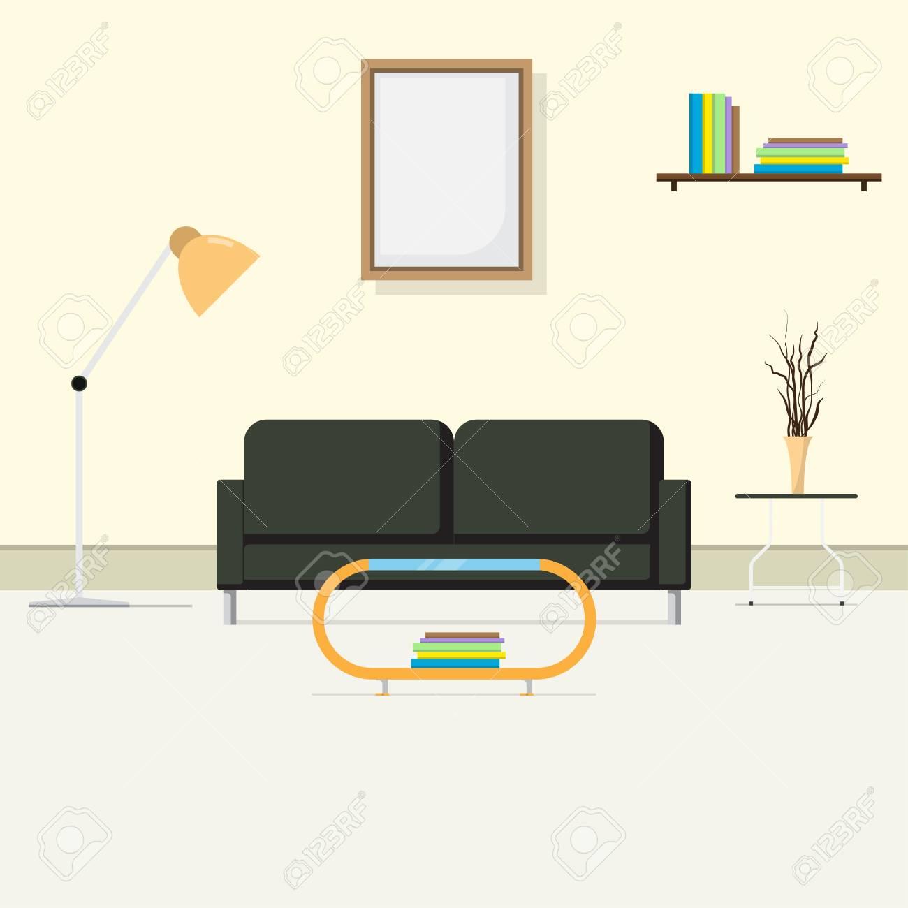 Der Bequeme Innere Salon, Raum Für Den Empfang Des Gastes. Sofa Und ...