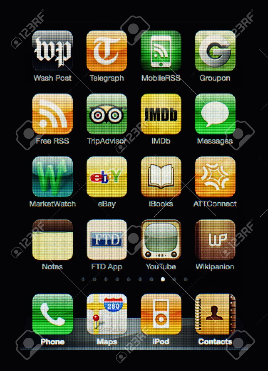 Muenster, Germany, April 16, 2011: Image of the iphone touch screen. Display shows a collection of useful apps with orange and green color scheme. Stock Photo - 9338413