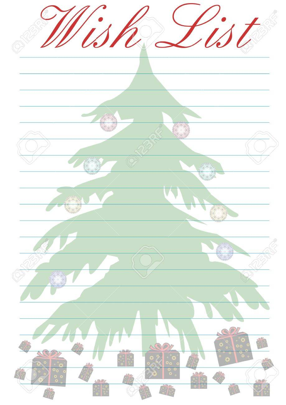 A Wish List Decorated With A Christmas Tree Background Stock Photo
