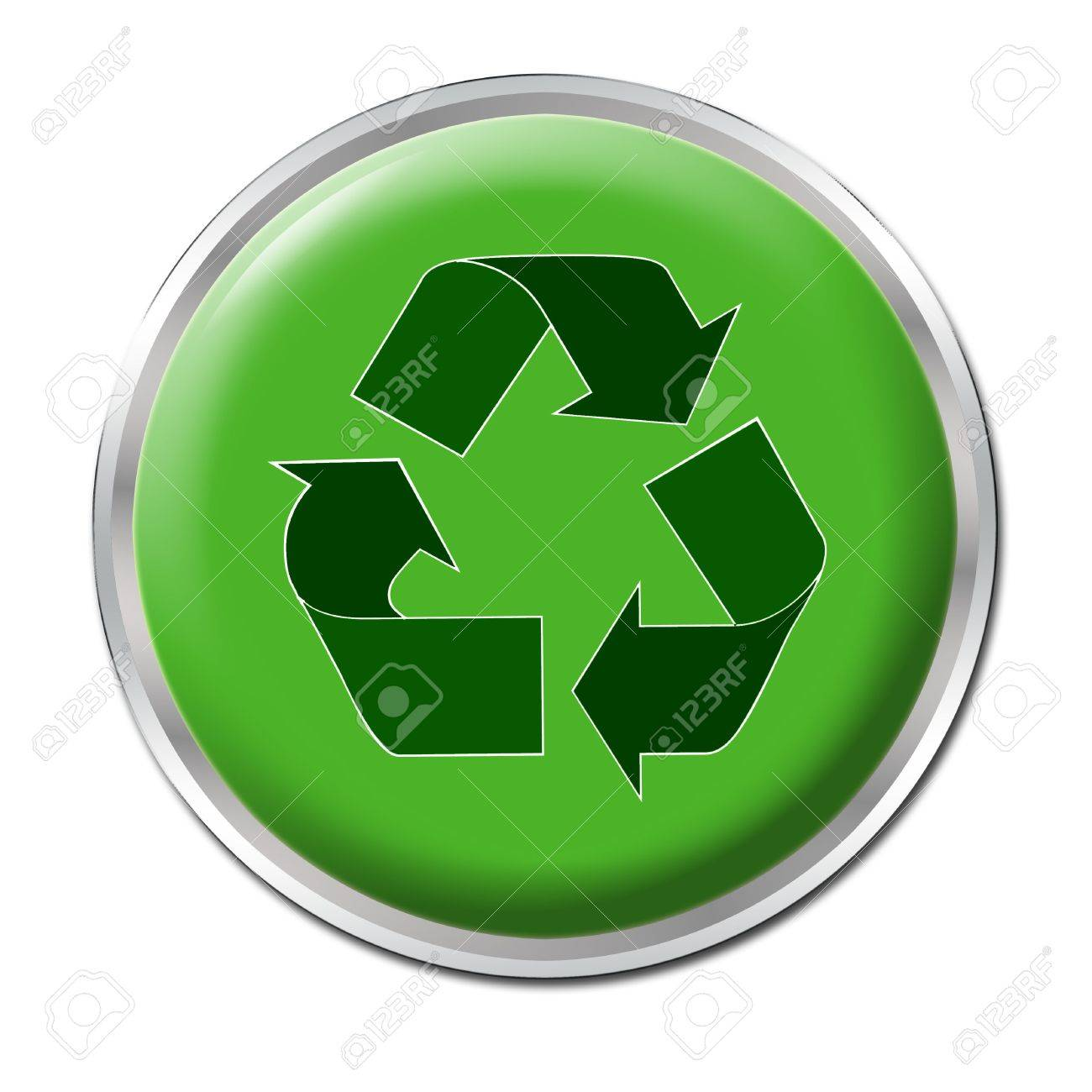 Green button with the symbol for recycling Stock Photo - 3239422