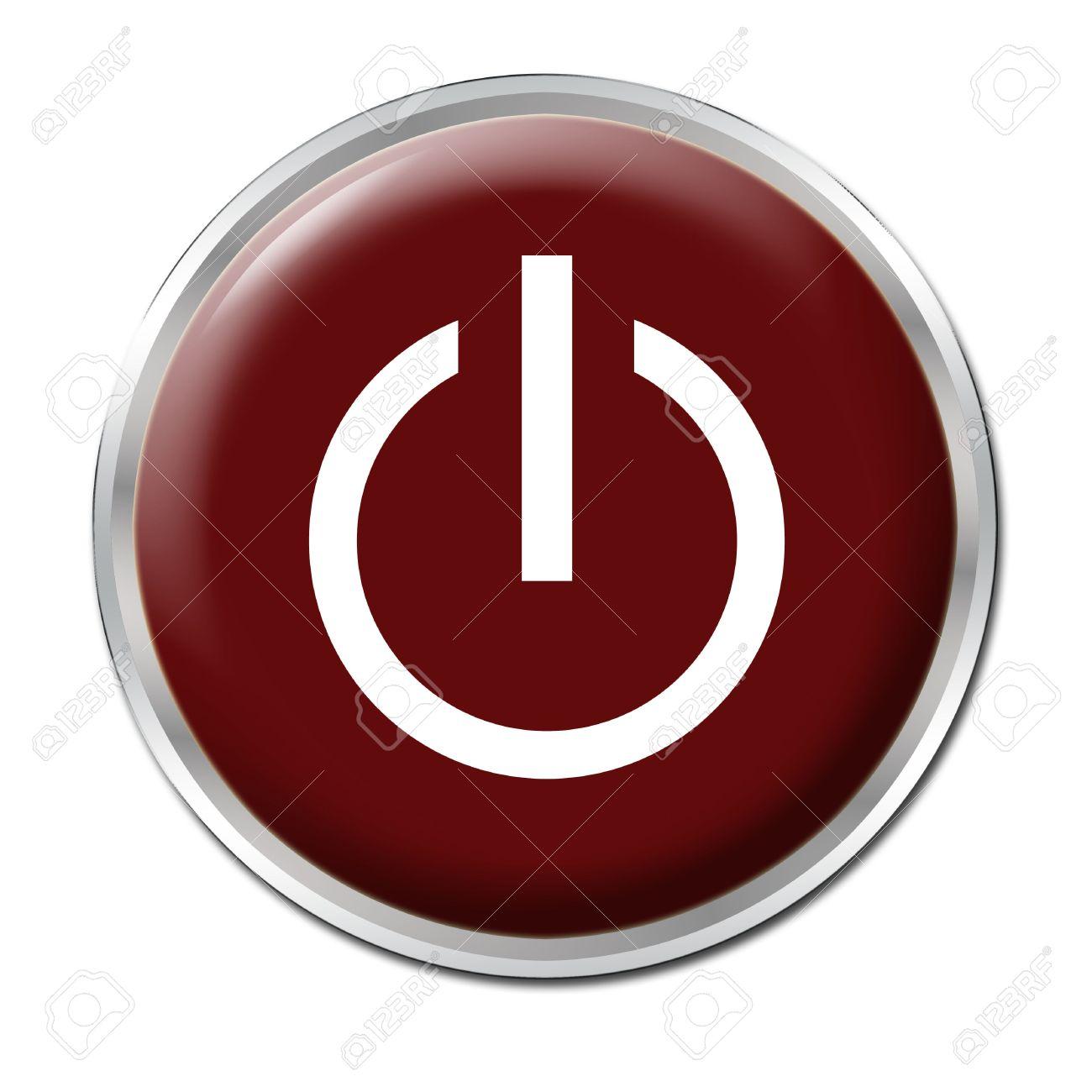 Botón rojo con el símbolo de encendido / apagado Foto de archivo - 3400717