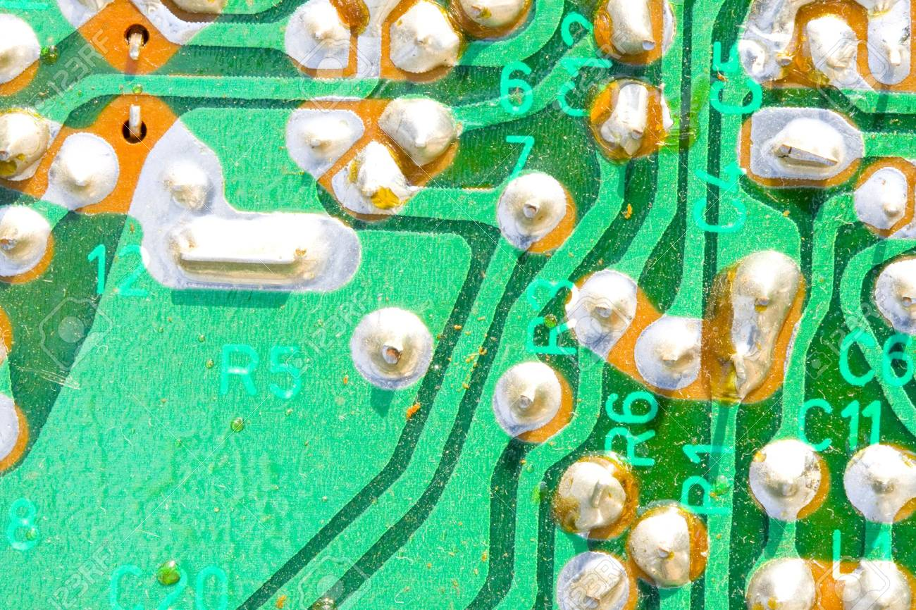 a very old and dusty printed circuit - close up Stock Photo - 4815833