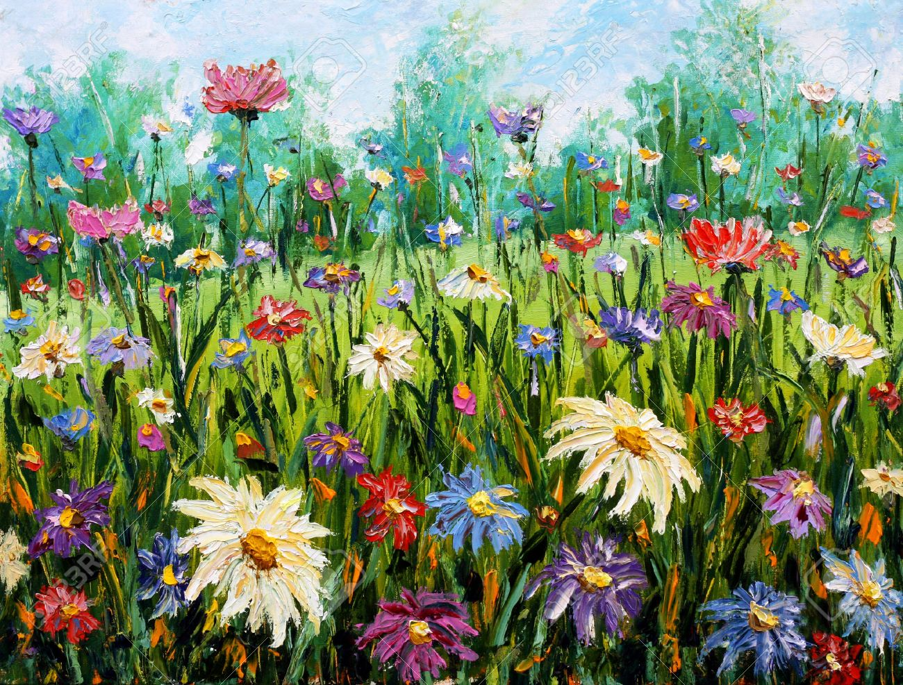 Original oil painting of flowersbeautiful field flowers on canvas original oil painting of flowersbeautiful field flowers on canvas wildflowers modern impressionism izmirmasajfo Image collections