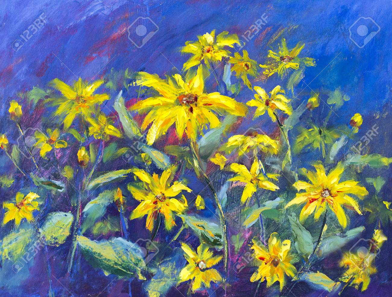 Yellow Flowers On Blue Background Colorful Flower Oil Painting