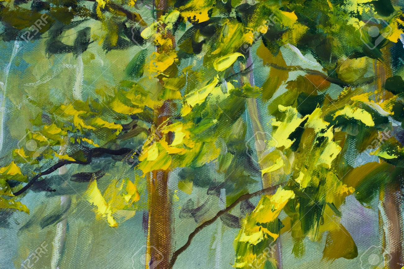 Close Up Fragment Trees, Foliage Of Oil Painting Artistic Image ...