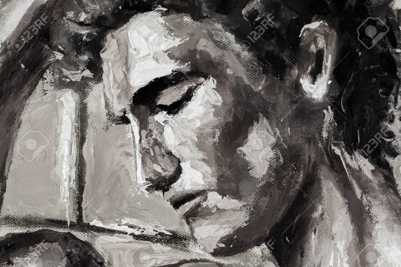 Black and white oil painting on canvas beautiful hand made head portrait artwork fassion