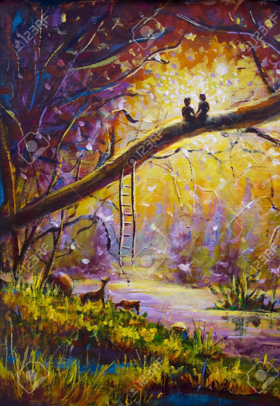 Amoureux De La Peinture à L'huile Originale
