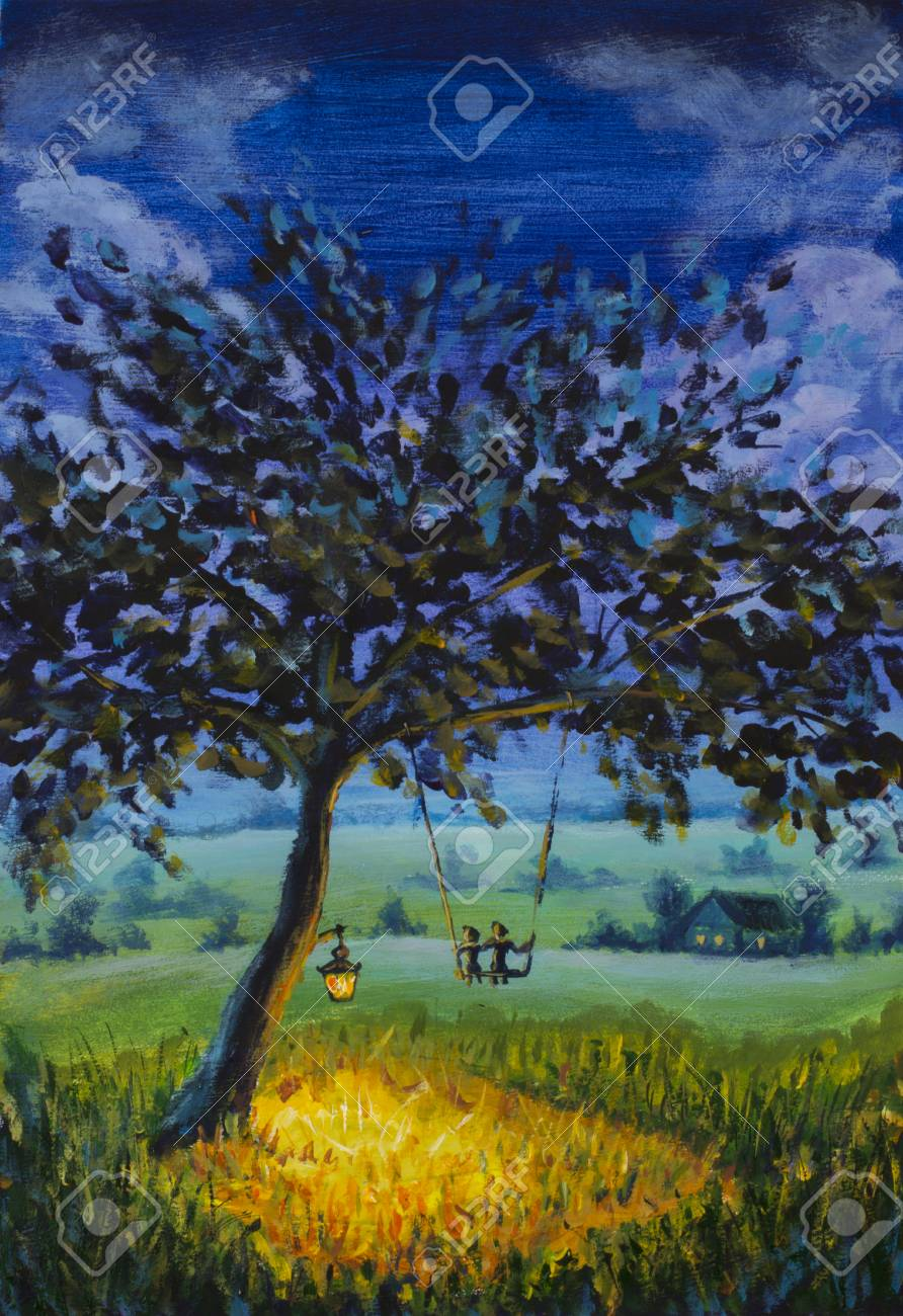 Painting Evening Rustic Landscape A Lantern Hanging On Tree