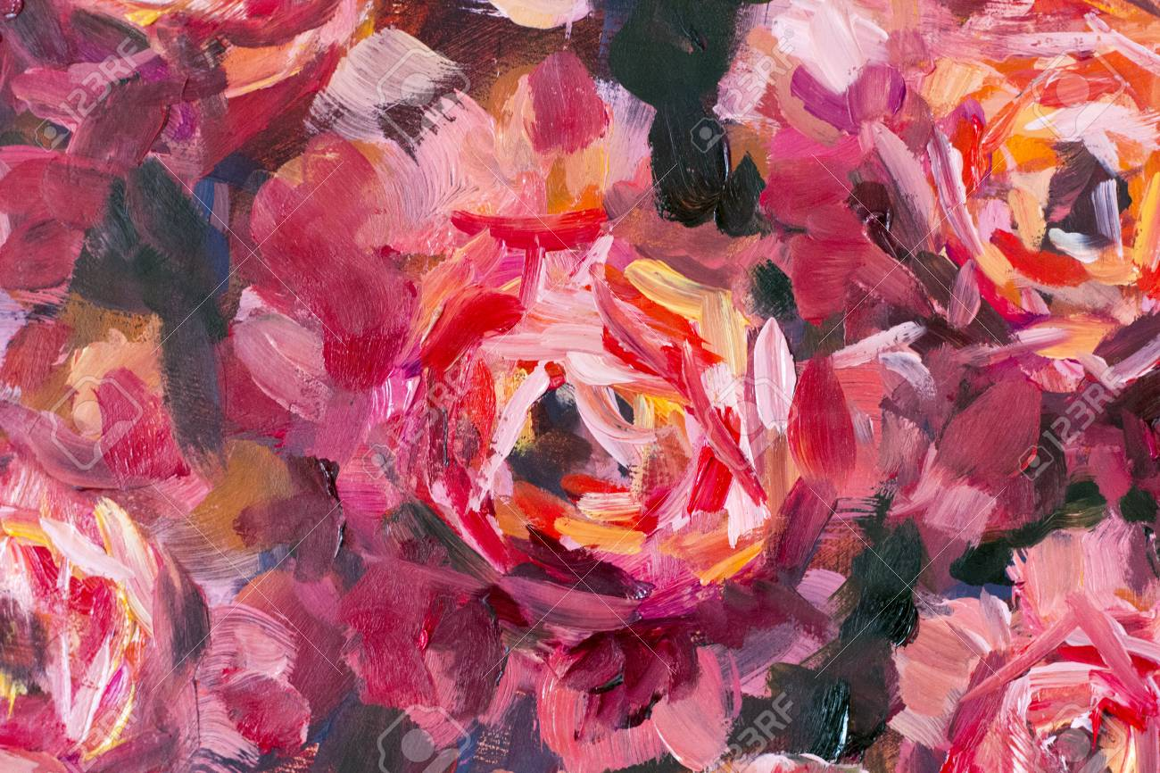 Red Violet Flowers Rose Peony Close-up Oil Painting. Abstract ...