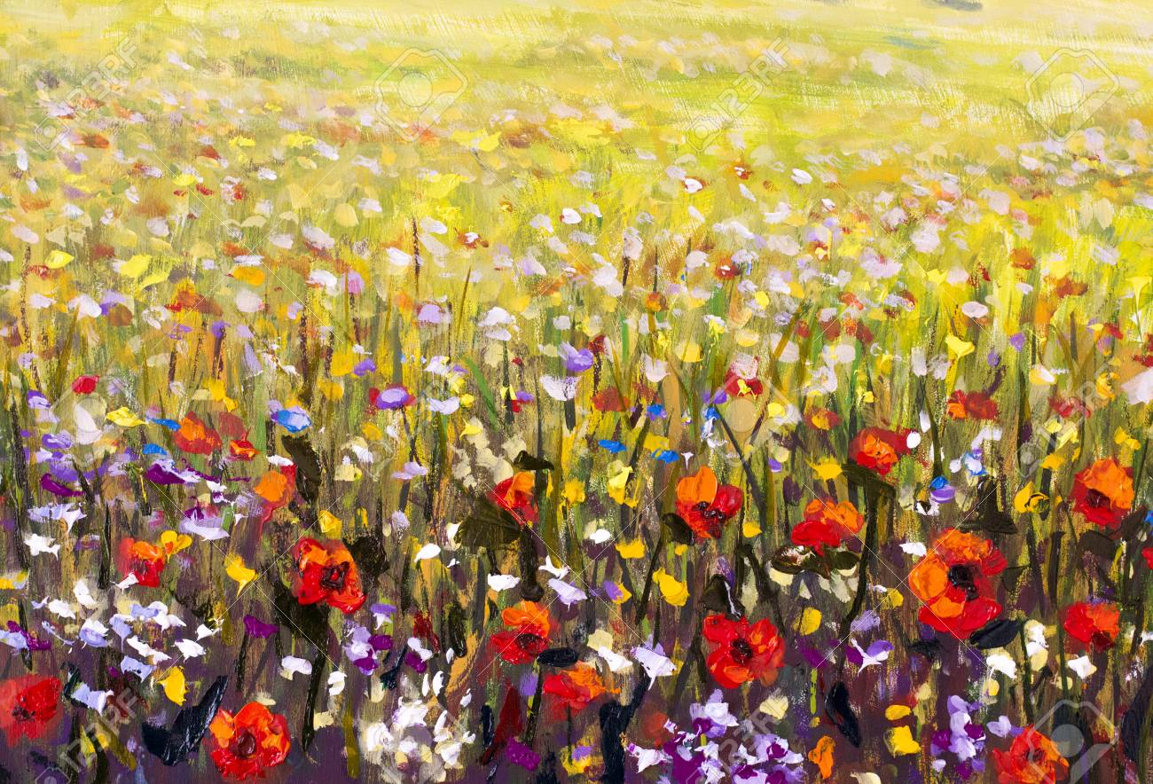 Red poppies flower field oil painting, yellow, purple and white..