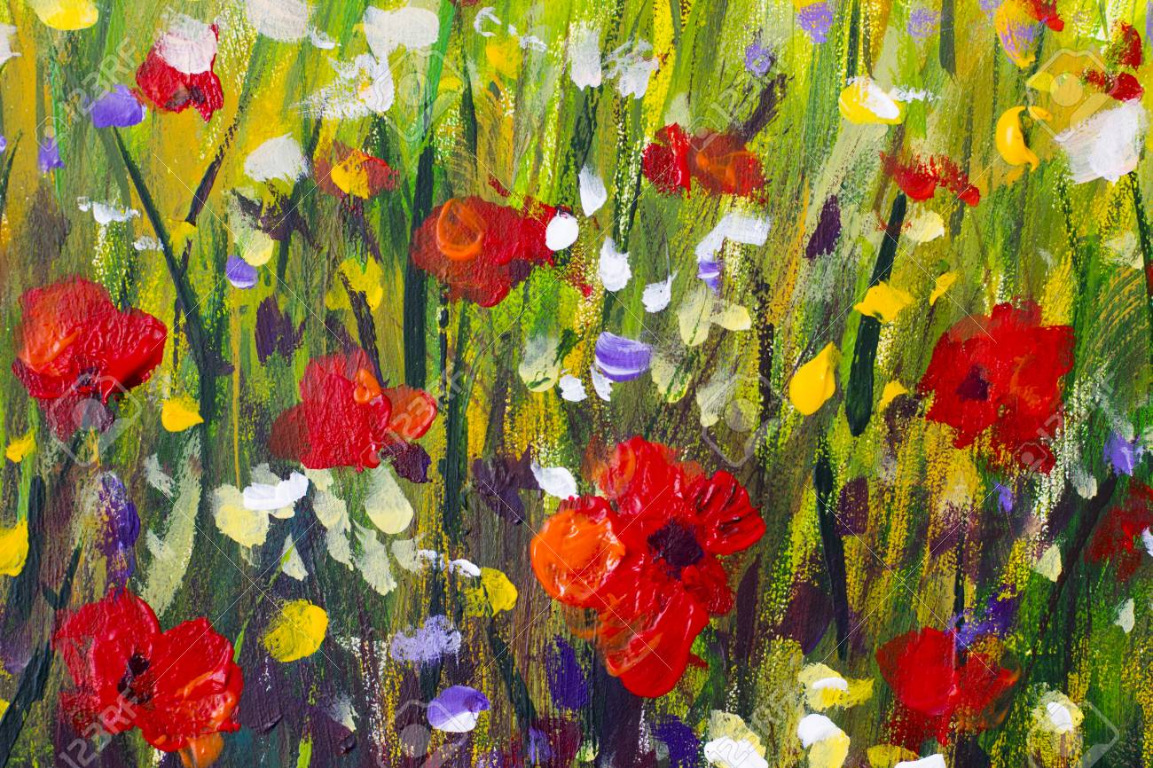 Original handmade oil painting flowers Red poppies canvas