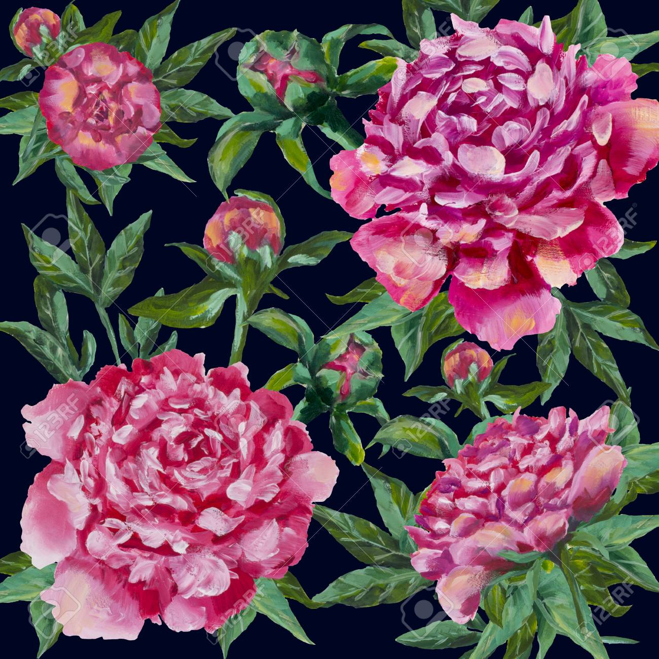 Peonies Flowers Design Oil Painting Pink Peony Roses With Green