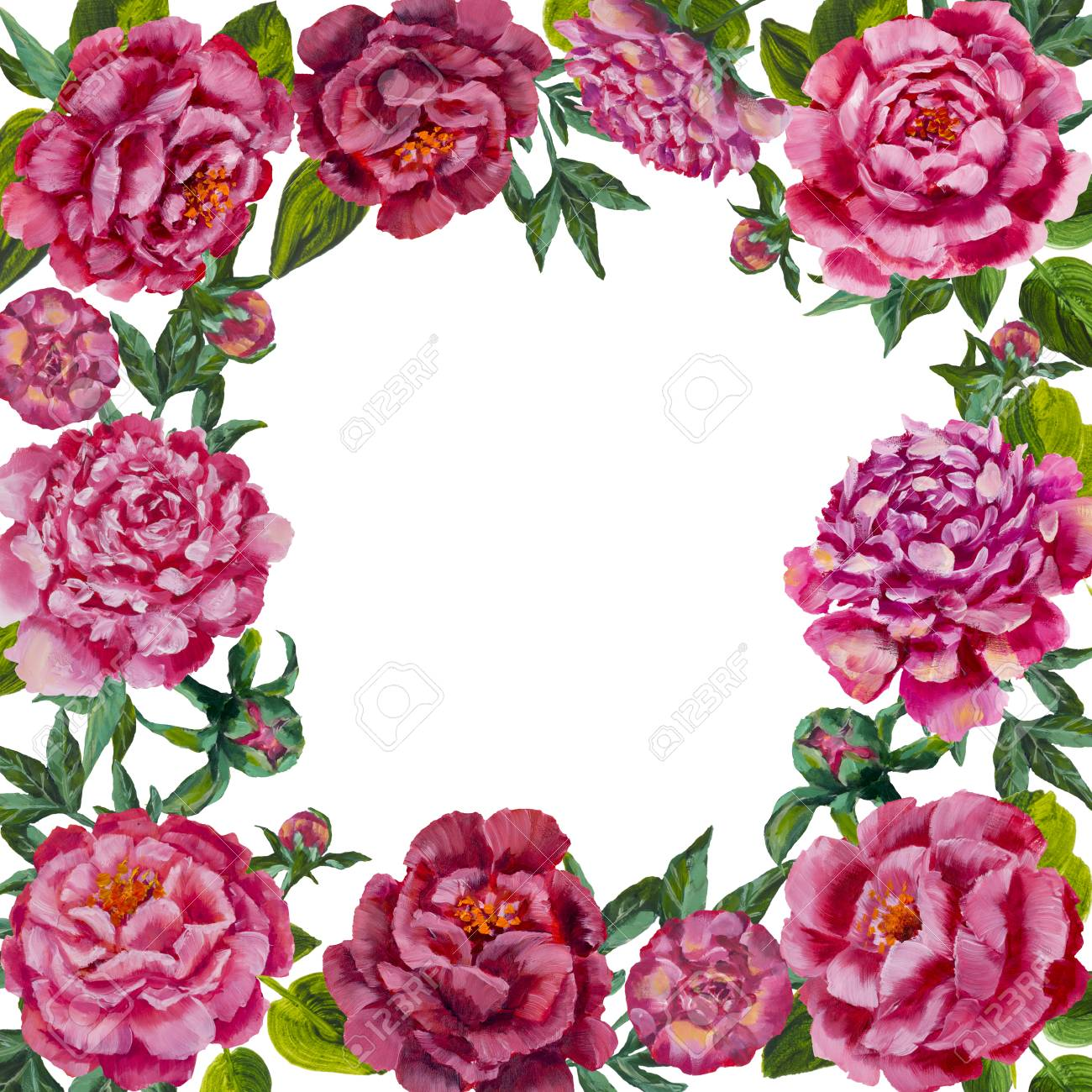 Round Oil Painting Pink Flower Peonies Roses Frame Background