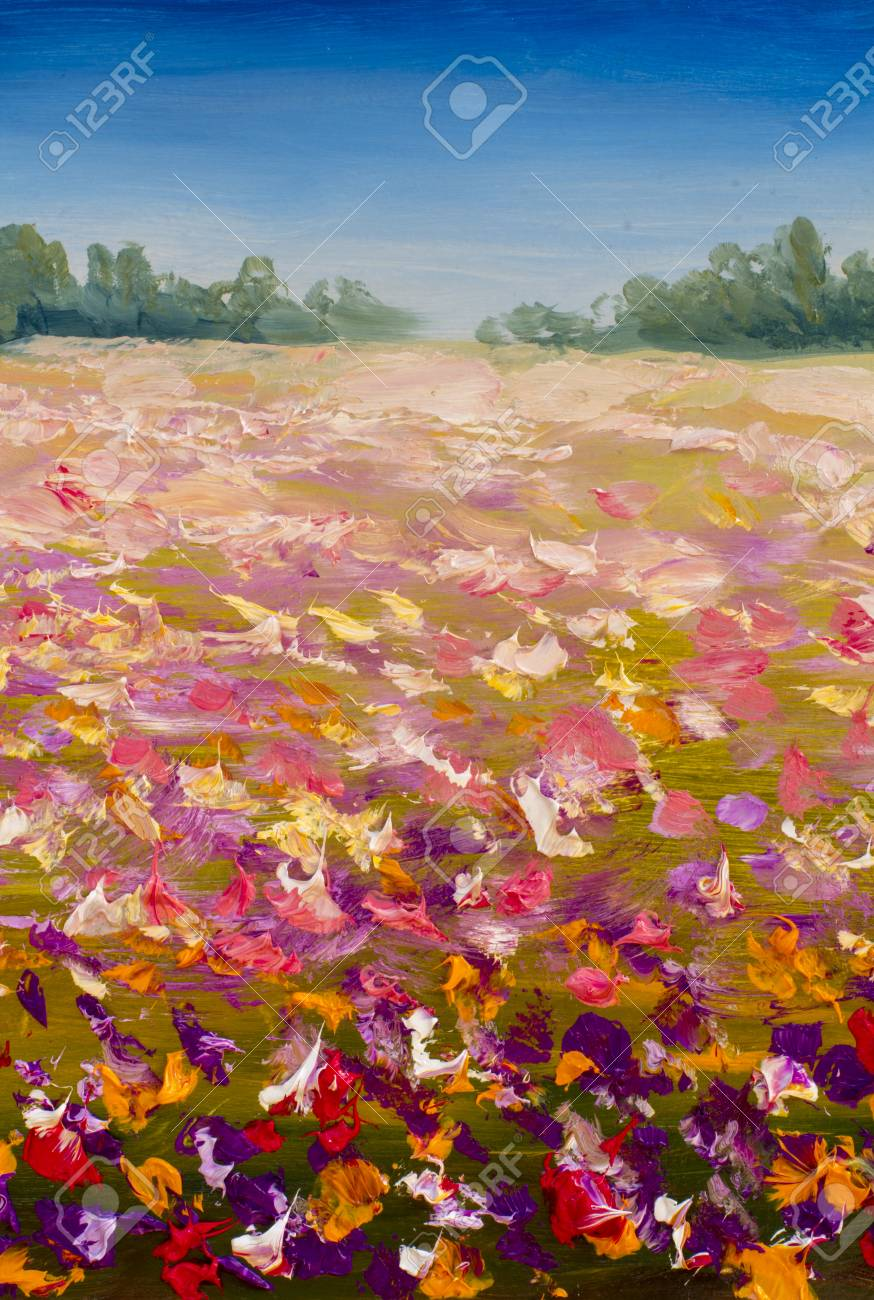 Field Of Red Pink Yellow Flowers Is A Summer Palette Knife Impasto