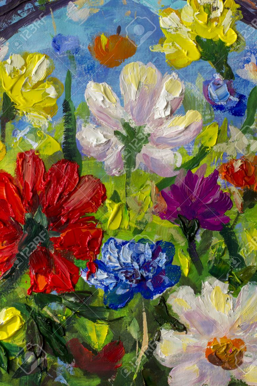Big Multicolored Spring Flowers Impressionist Palette Knife Oil