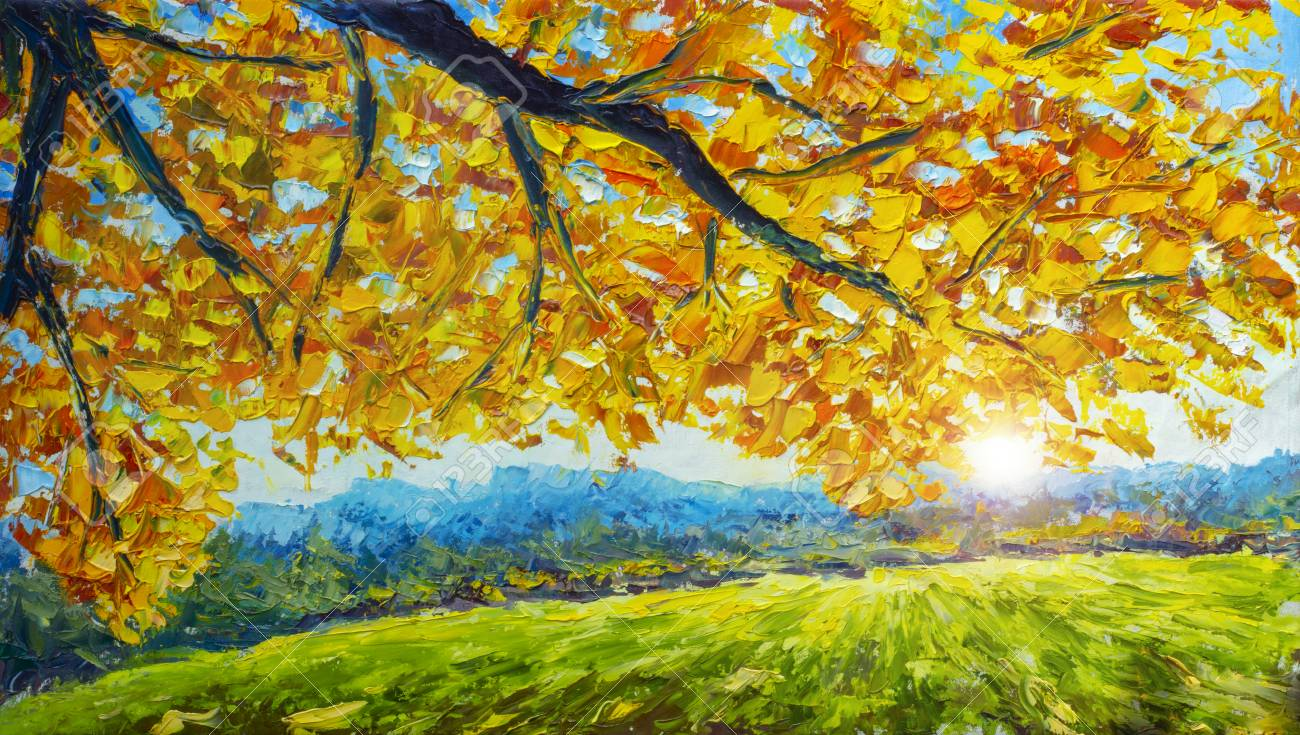 A branch of an autumn tree with golden orange foliage over a green field - autumn landscape - oil painting and palette knife impasto close-up impressionism illustration. - 109406615