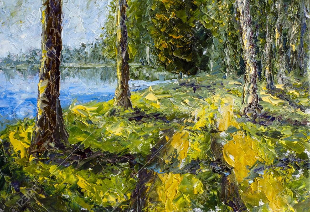 Long tall trees on green bank near blue water lake - summer landscape - fragment of oil painting and palette knife close up impressionistic illustration, fine art. - 109406483