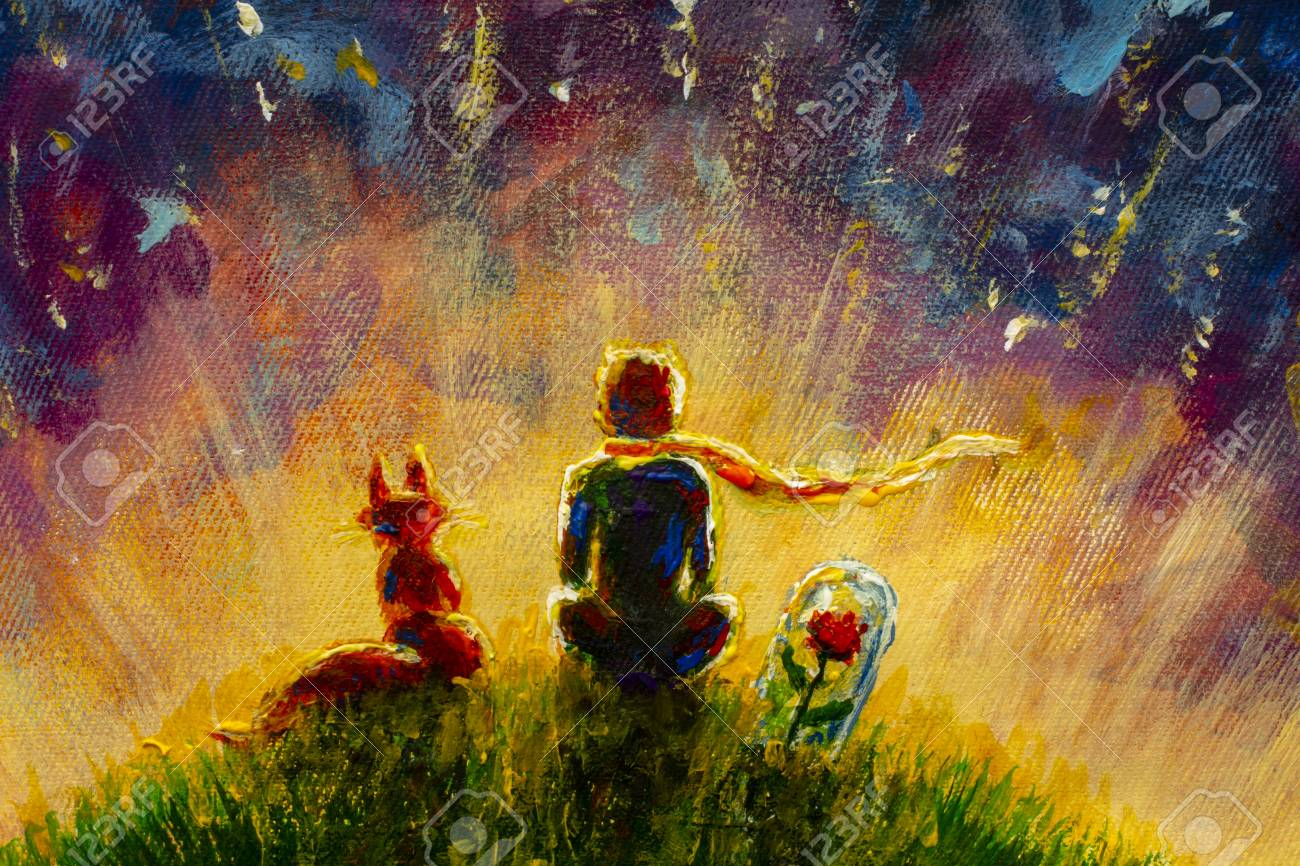 Original oil painting Little prince and fox and Red Rose sitting on grass under starry sky. Colorful illustration. - 109406337