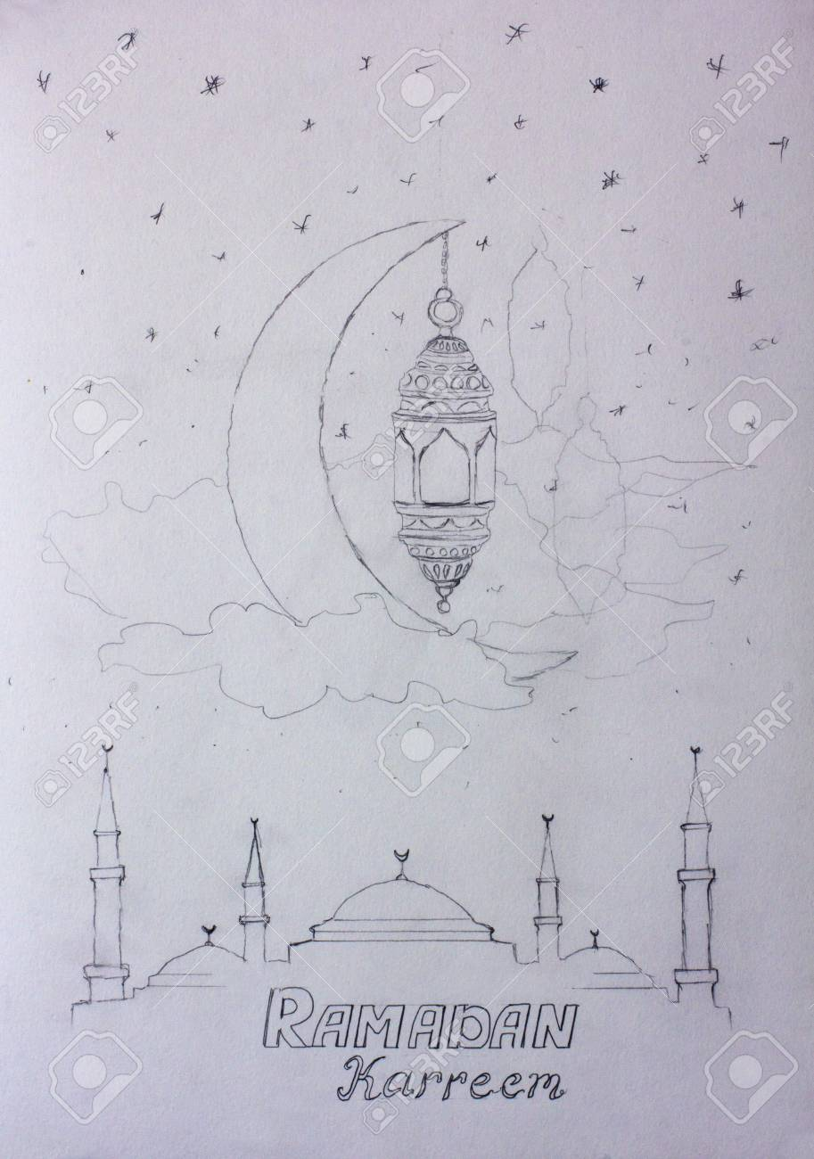 Illustration pencil sketch hand drawing ramadan kareem greeting template islamic crescent and arabic lantern in clouds painting illustration artwork on