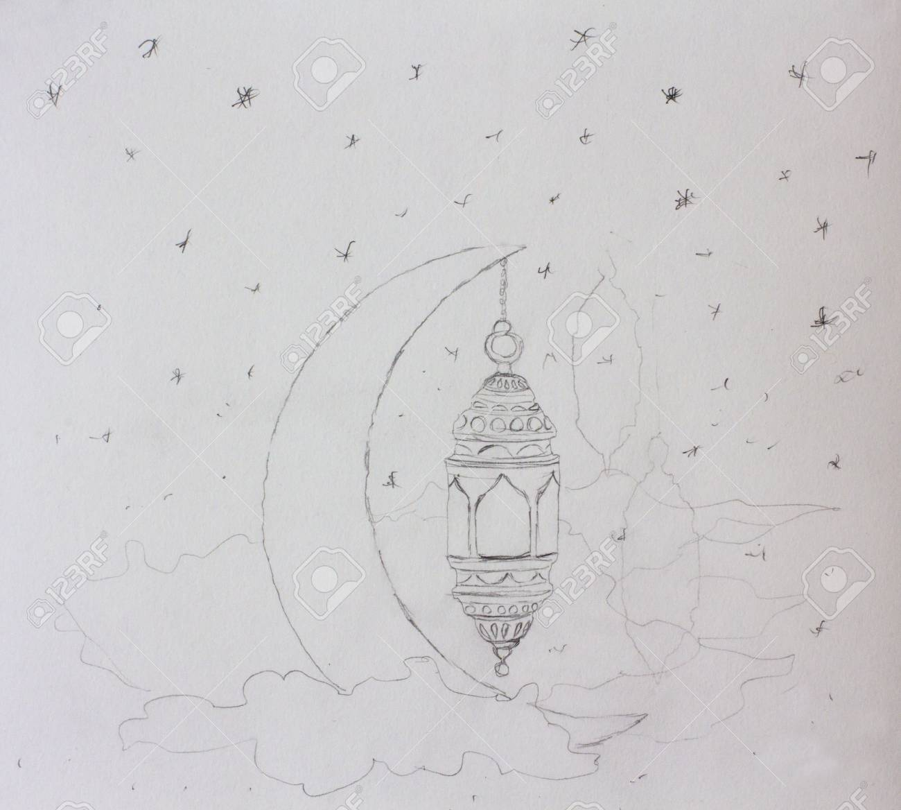 Pencil sketch ramadan kareem greeting template islamic crescent and arabic lantern painting illustration artwork on paper