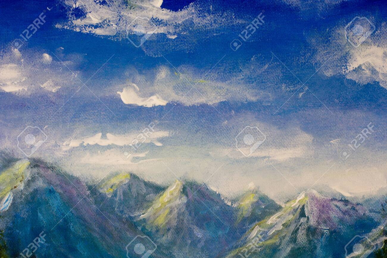 Oil Painting Blue Sky Over The Mountains Beautiful Mountain