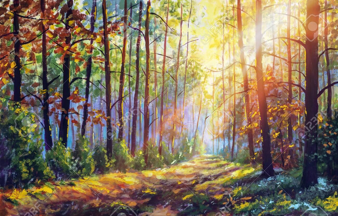 Original oil painting gorgeous forest in autumn, scenic landscape with pleasant warm sunshine fine art - 139020208