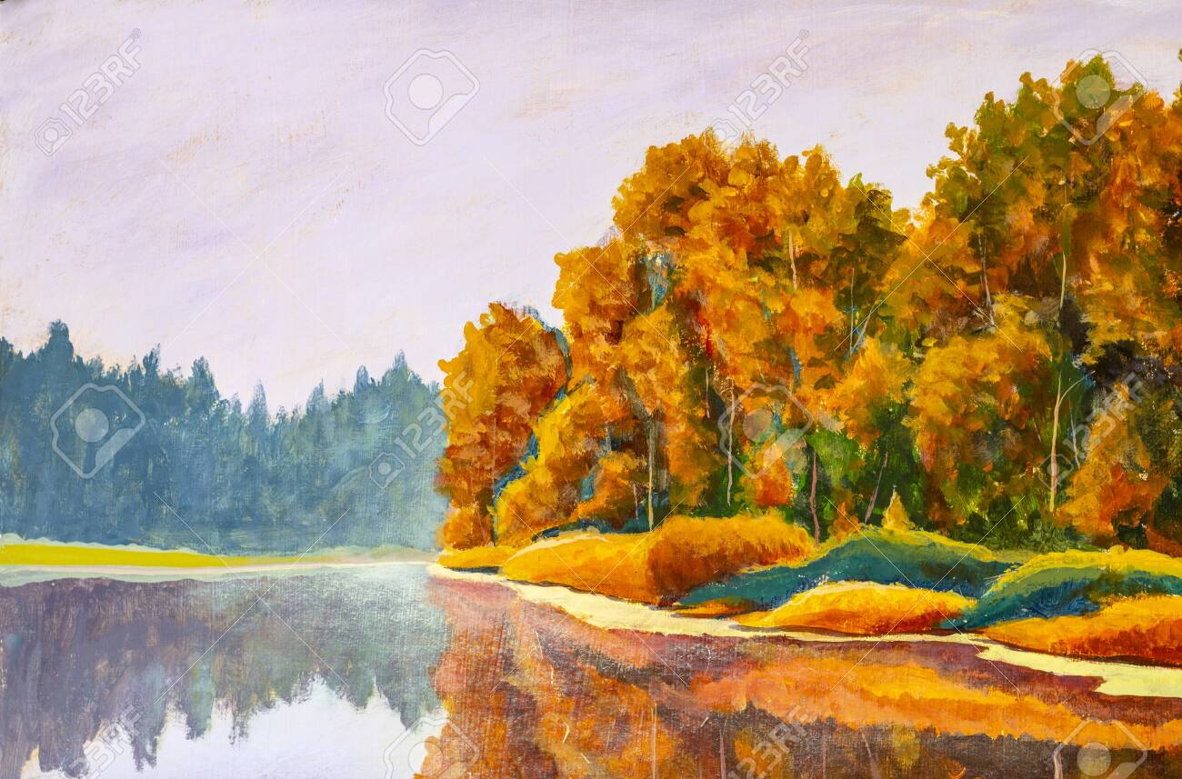 Original on painting on canvas by artist Autumn on river. Russian sea landscape nature fine art - 140696946