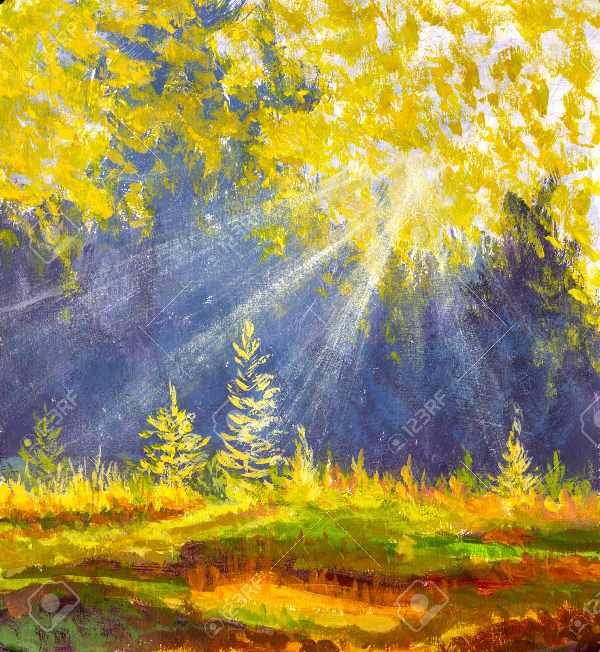 Autumn trees in wood gold orange forest in watercolor oil acrylic painting. - 142693676