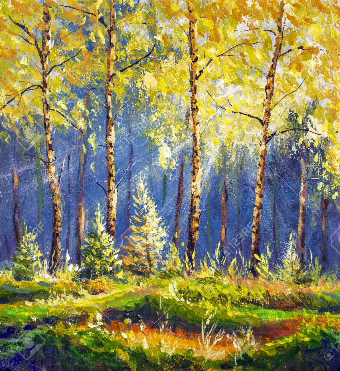 oil painting spring forest sun rays landscape