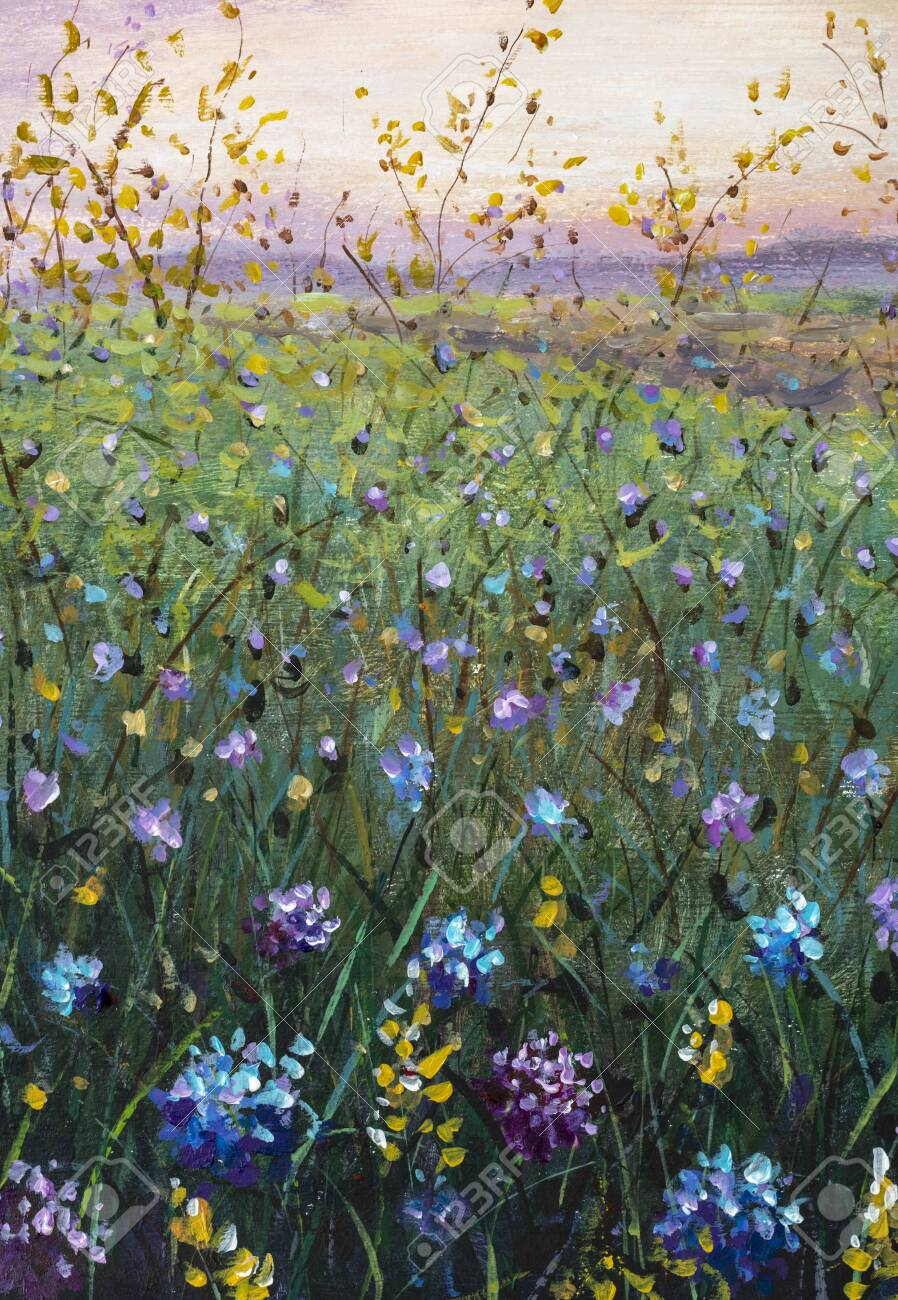 Flower Field At Sunset Dawn Floral Landscape Oil Painting On Stock Photo Picture And Royalty Free Image Image 150202440