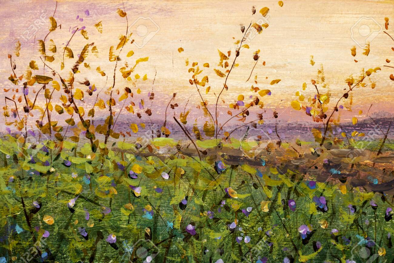 Flowers Field Oil Painting Beautiful Flower Wildflowers Landscape Stock Photo Picture And Royalty Free Image Image 150202450
