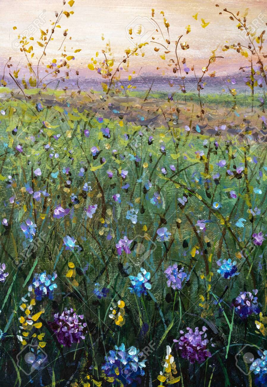 Flowers Field Oil Painting Beautiful Flower Wildflowers Landscape Stock Photo Picture And Royalty Free Image Image 150202451