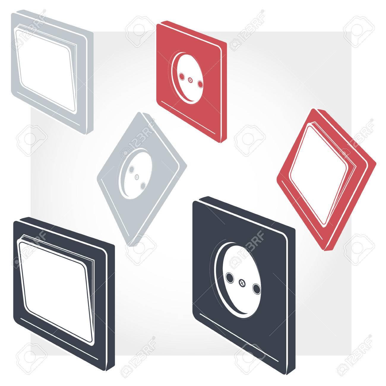 Schalter, Steckdosen, Verbindung; Anschlüsse; Computer, Draht ...