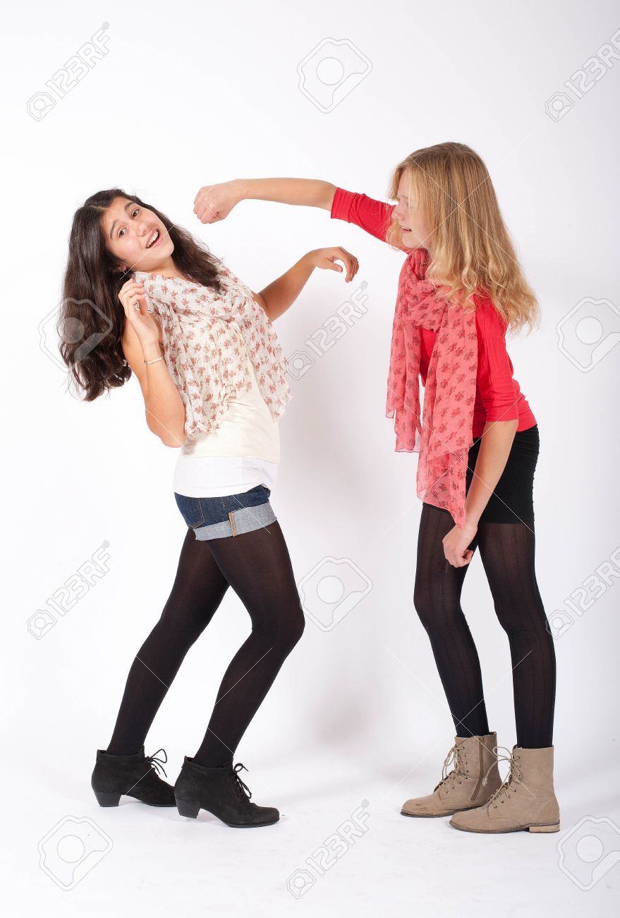 Stock Photo - two grild pretend to have a fistfight