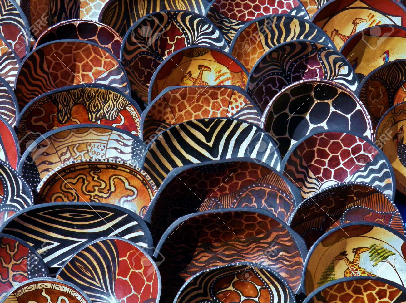 Colorful African Wooden Bowls