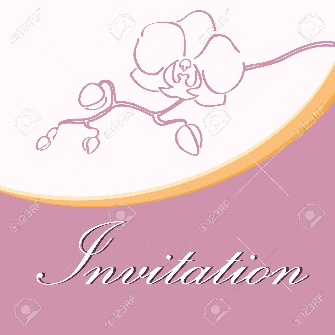 Wedding Invitation With Orchid Silhouette Royalty Free Cliparts ...