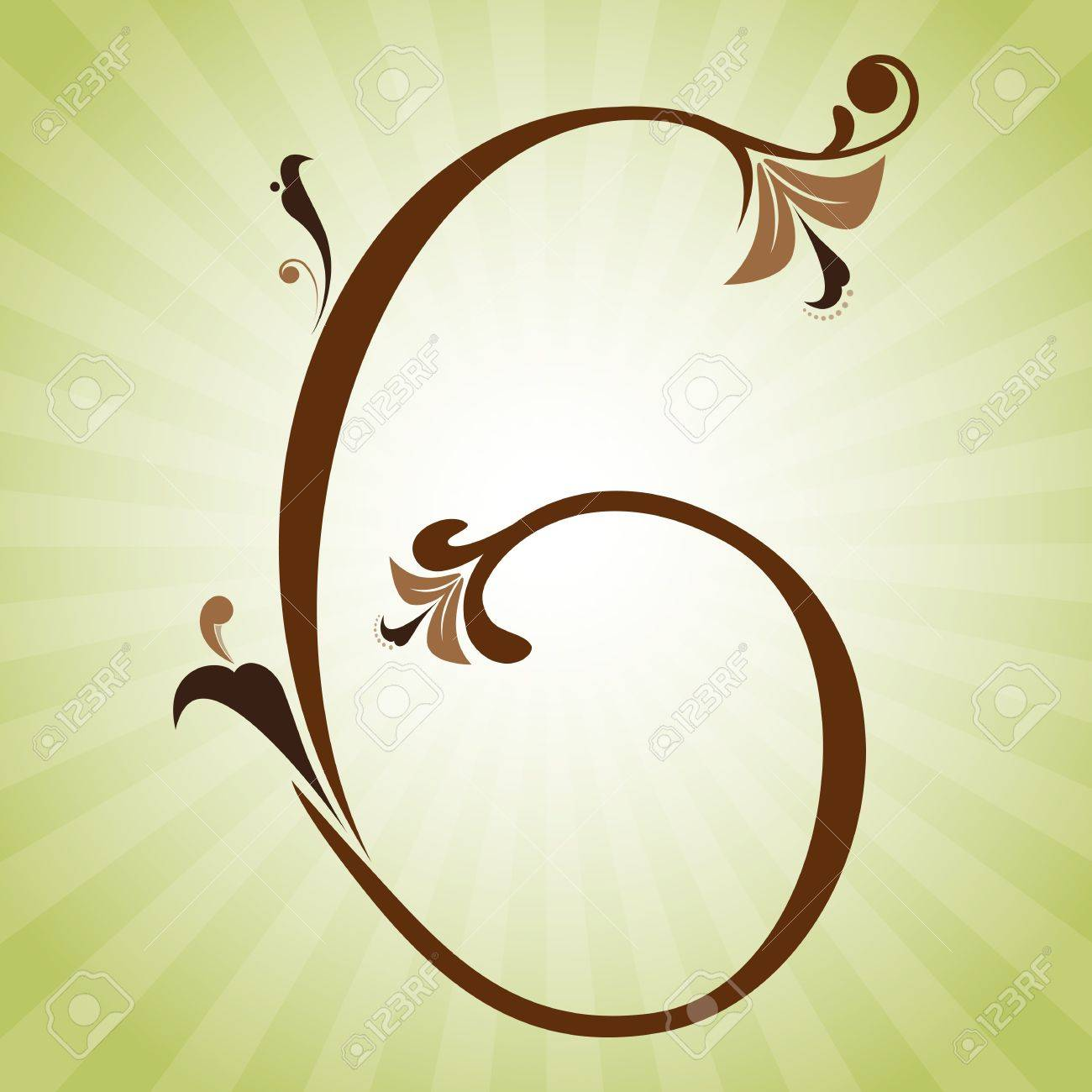 Decorative floral numbers with leaves and swirls Stock Vector - 14585590