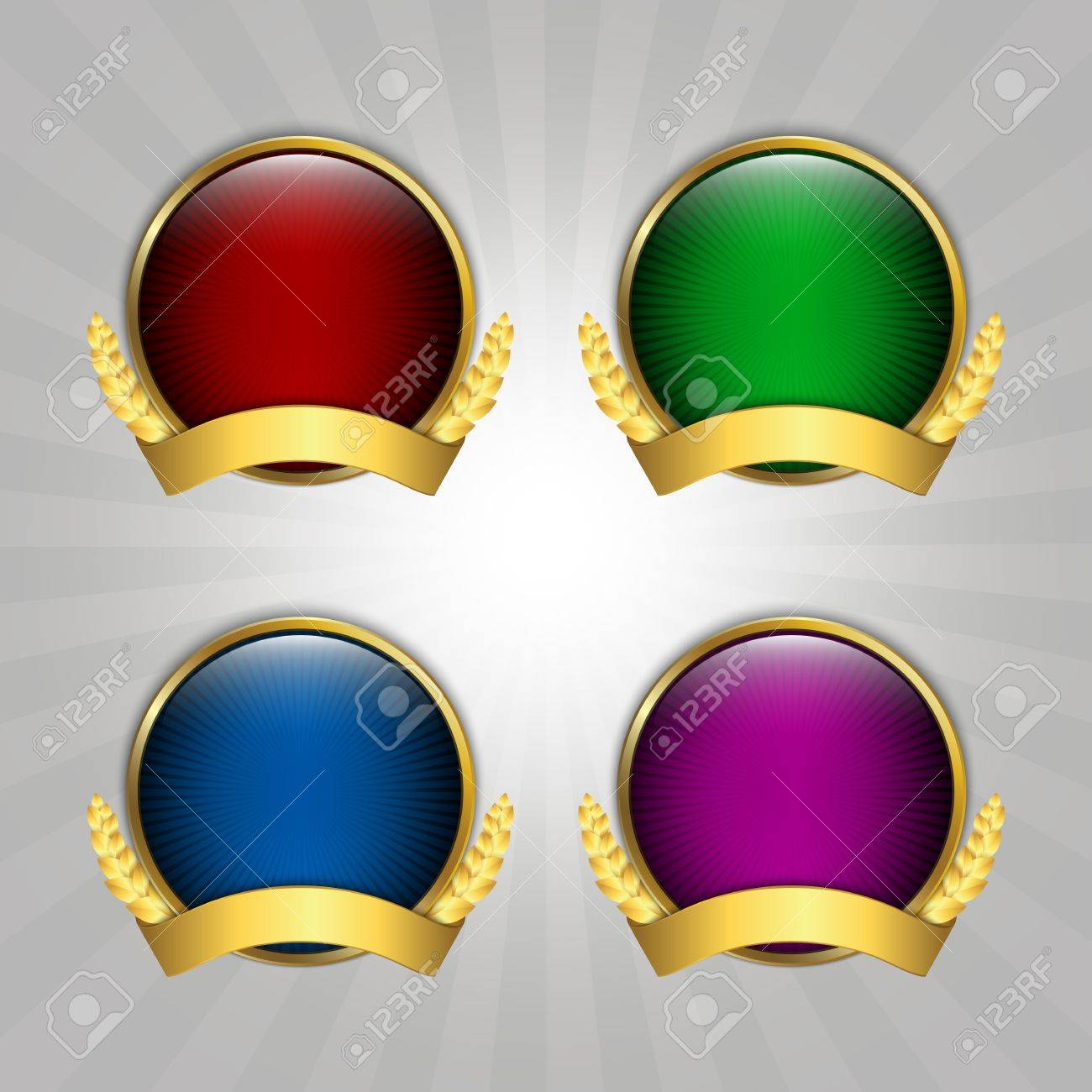 Set of four round quality emblems Stock Vector - 14879519