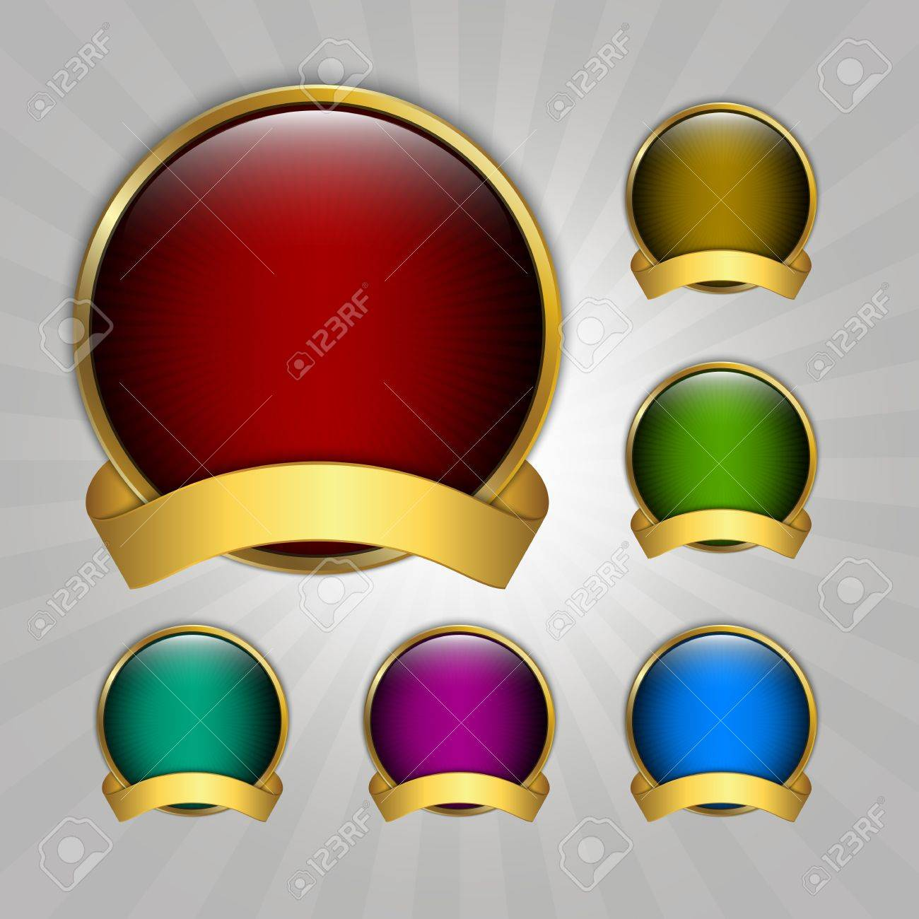 Set of seven round guarantee medals Stock Vector - 14879518