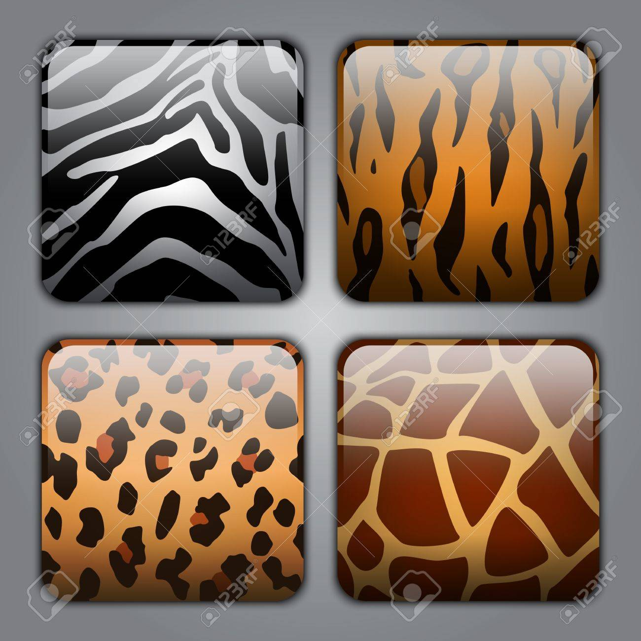 Set of icons with different types of wild animal fur textures - 16186596
