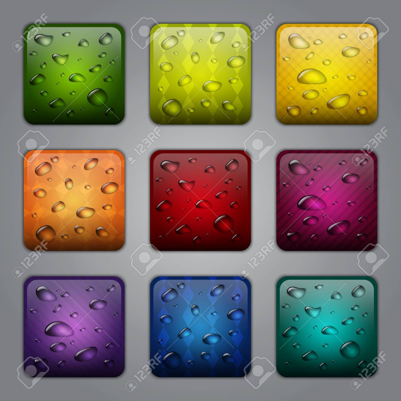 Textured application buttons with water drops - 16450901