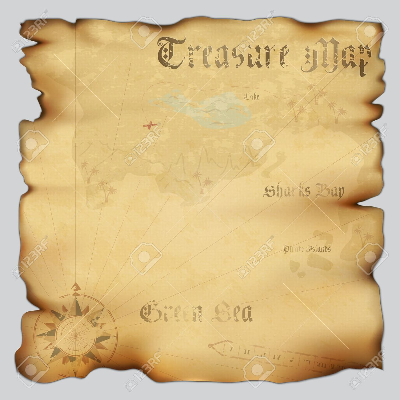 Old Treasure Map Template Old Treasure Map With Wind