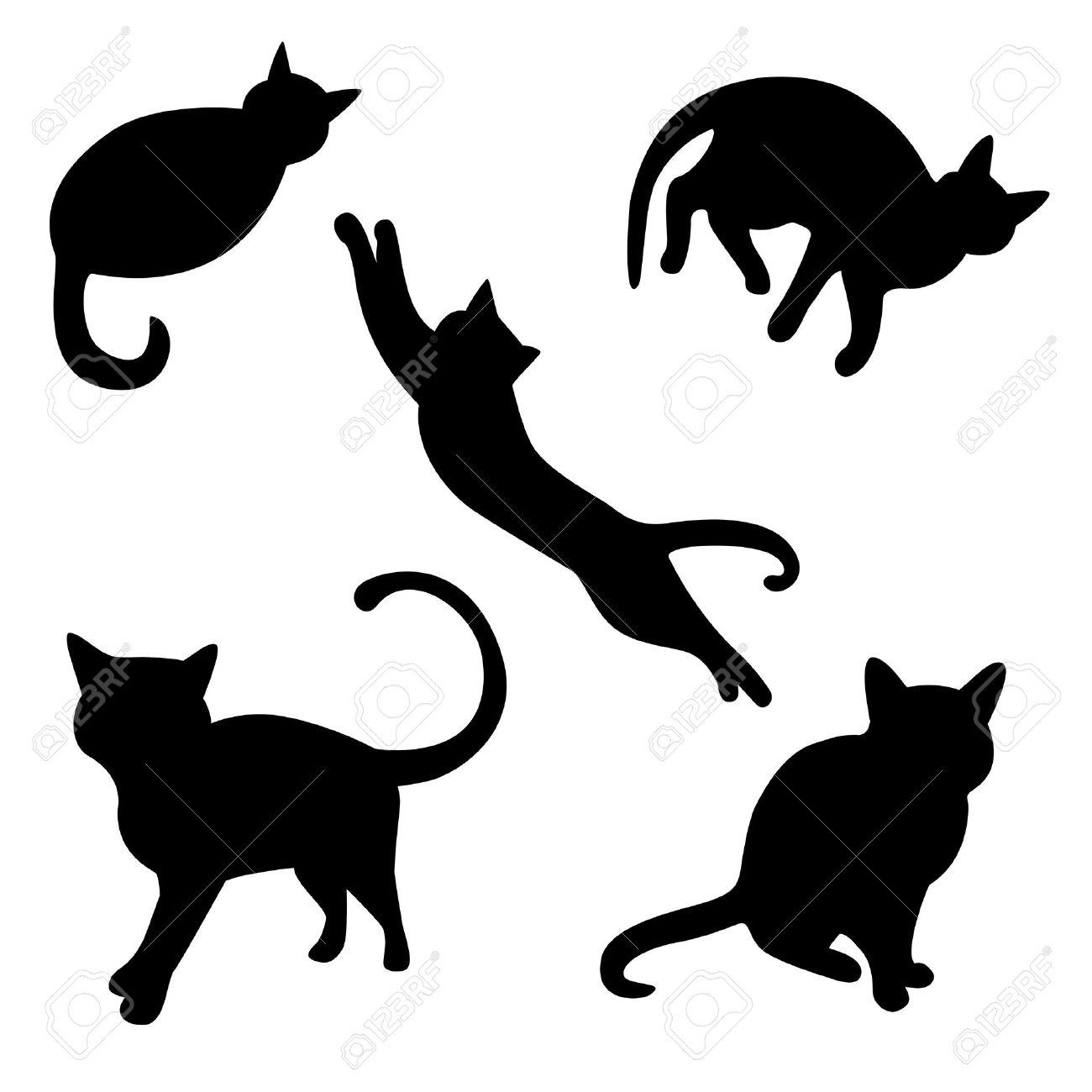 Conjunto de siluetas de gatos Foto de archivo - 18227548