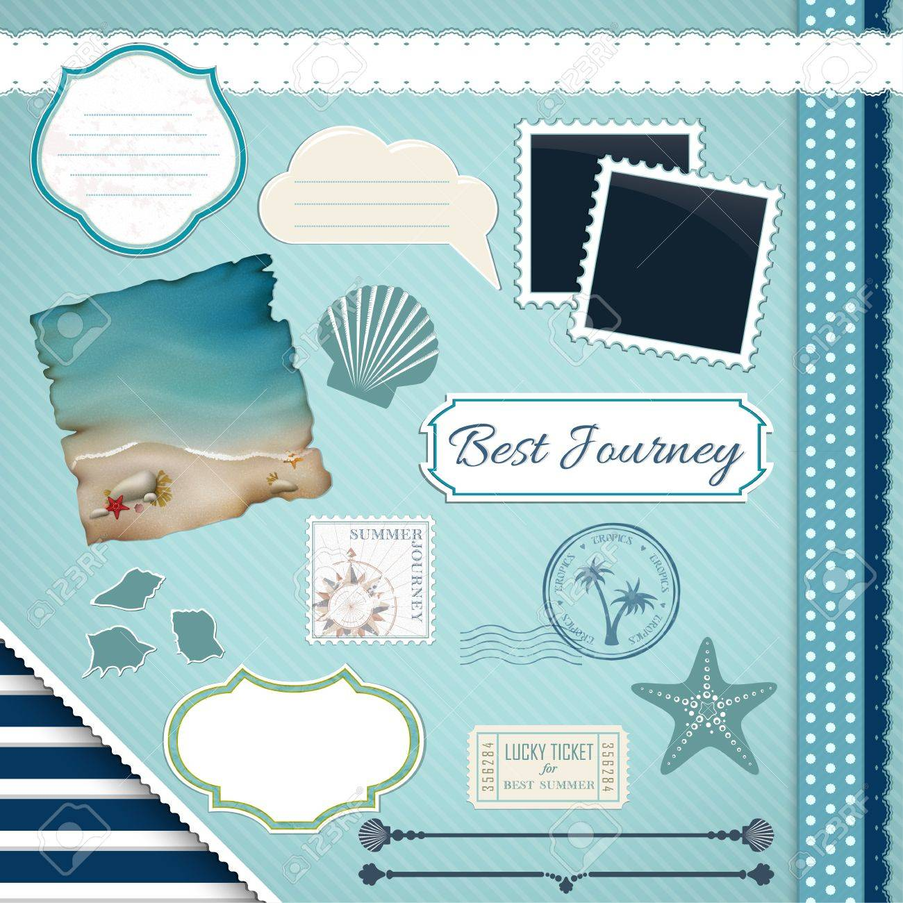 Scrapbooking Set Summer journey - frames, ribbons, dividers, notes and decorations - 18685674