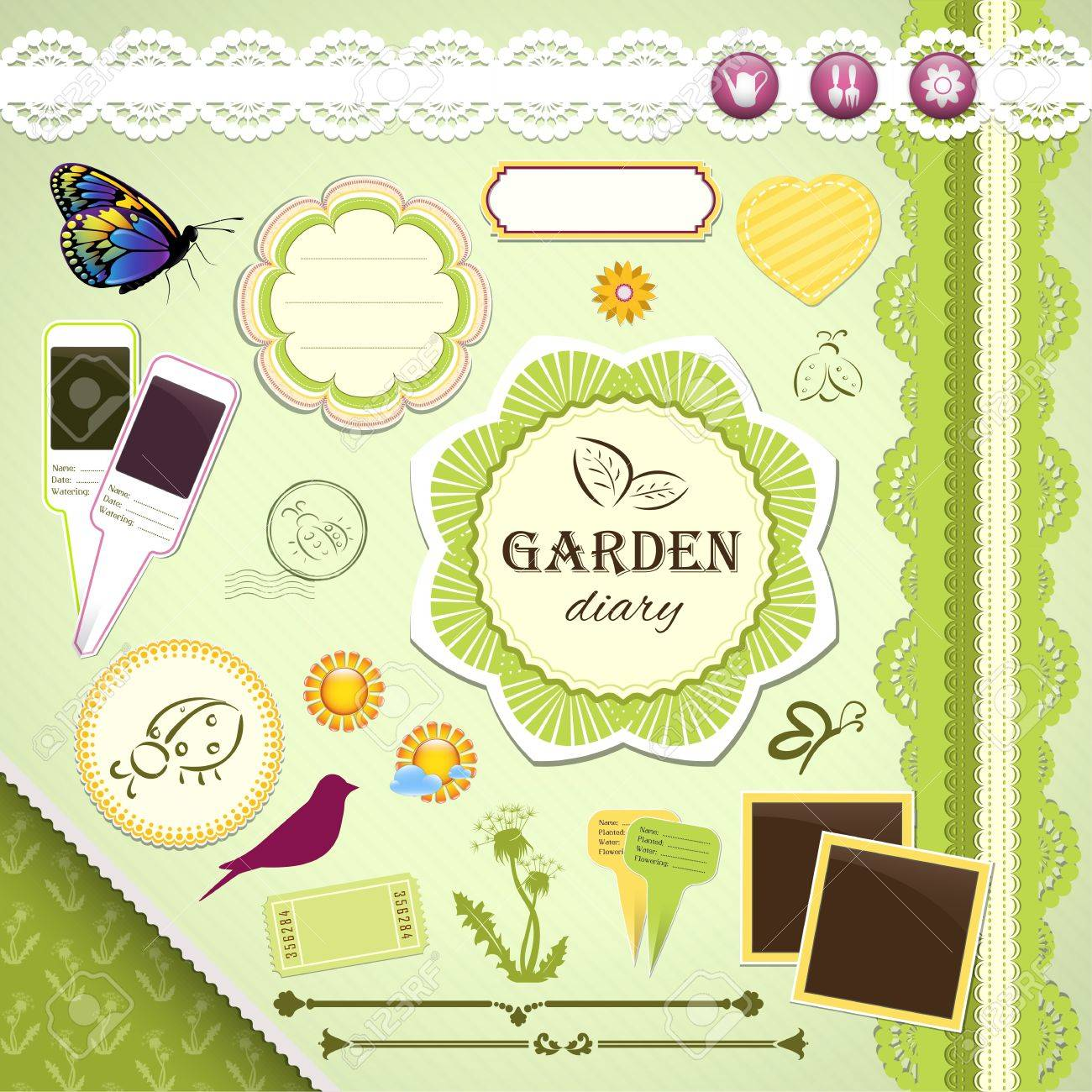 Scrapbooking Set: My Garden Diary - frames, ribbons, dividers, notes and decorations - 18685675